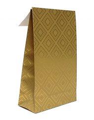 50 bitar Papper Presentpåsar gyllene plattor med adhesiv remsa och undre block 10x15,7x4 of 14x23x5,5cm