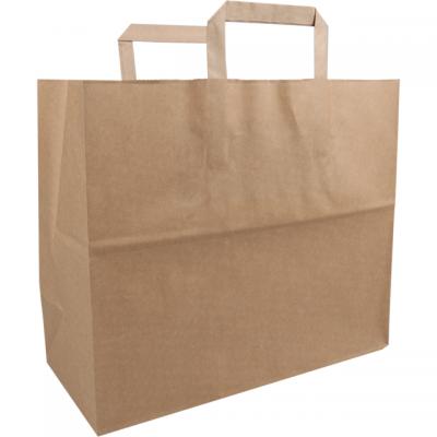 250 stycken FSC papperspåsar platt handtag brun
